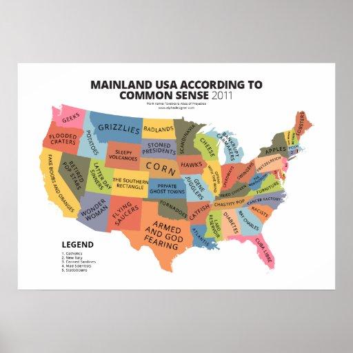 Continente los E.E.U.U. según sentido común Poster