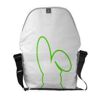 Contorno de una liebre verde clara bolsa de mensajeria