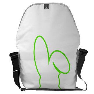 Contorno de una liebre verde clara bolsas de mensajería