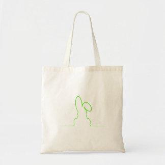 Contorno de una liebre verde clara bolso de tela