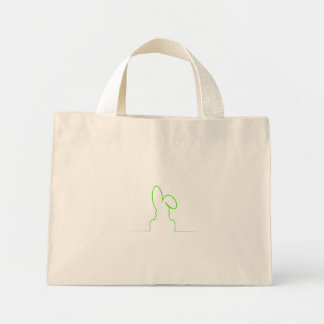 Contorno de una liebre verde clara bolso de tela diminuto