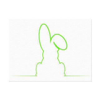 Contorno de una liebre verde clara impresión en lienzo
