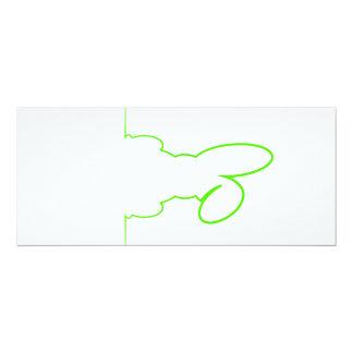 Contorno de una liebre verde clara invitación 10,1 x 23,5 cm