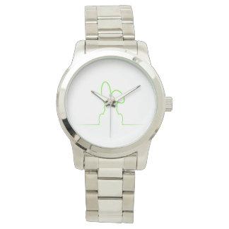 Contorno de una liebre verde clara reloj