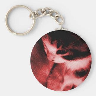 Contraste del gatito - rojo llavero redondo tipo chapa