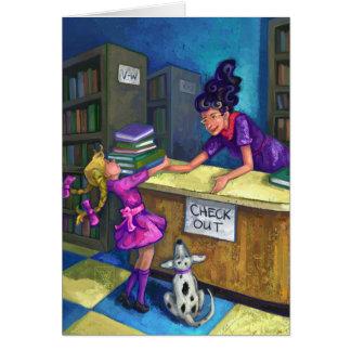 Control de la biblioteca hacia fuera tarjeta de felicitación