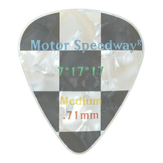 Control que compite con a cuadros clásico blanco y púa de guitarra celuloide nacarado