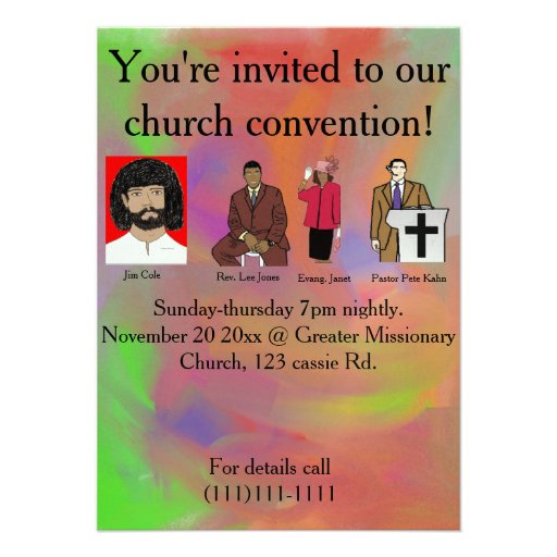 Convenio de la iglesia invitacion personalizada