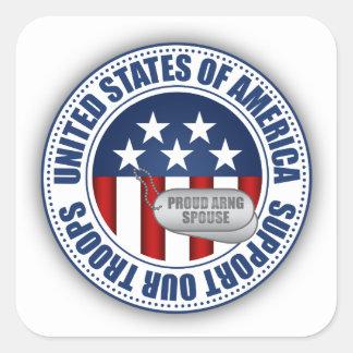 Cónyuge orgulloso del Guardia Nacional del Calcomania Cuadradas Personalizadas