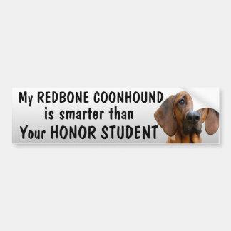 Coonhound de Redbone - más elegante que estudiante Pegatina Para Coche