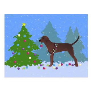 Coonhound de Redbone que adorna el árbol de Postal