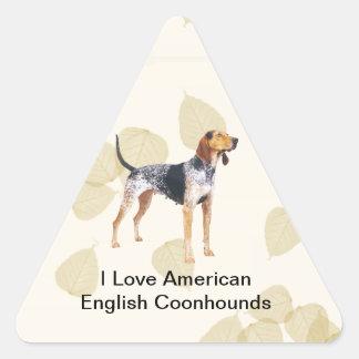 Coonhound del inglés americano con las hojas del pegatina triangular