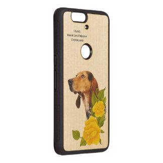 Coonhound del inglés americano y rosas amarillos fundas de madera para nexus s6p