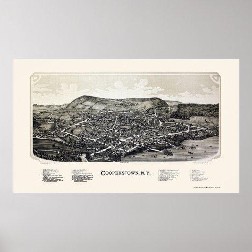 Cooperstown, mapa panorámico de NY - 1890 Impresiones