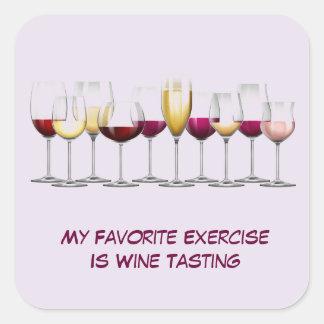 Copas de vino ilustradas pegatina cuadrada