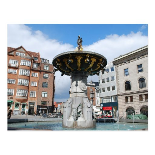 Copenhague Dinamarca, fuente bien de Caritas Tarjeta Postal