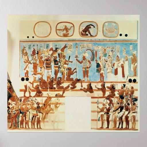 Copia de una pintura de pared de bonampak p ster zazzle - Posters para pared ...
