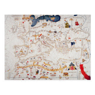 Copia del mapa catalán de Europa, África del Norte Postales