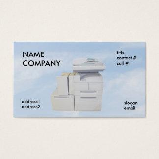 copiadora en las nubes azules tarjeta de negocios