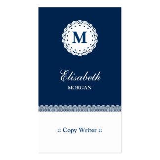 Copie el monograma blanco azul del cordón del escr plantilla de tarjeta de visita