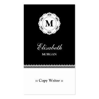 Copie el monograma blanco negro del cordón del tarjetas de visita