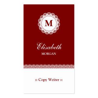 Copie el monograma blanco rojo del cordón del escr plantillas de tarjeta de negocio