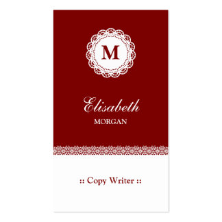 Copie el monograma blanco rojo del cordón del tarjetas de visita