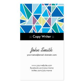 Copie la geometría abstracta azul del escritor tarjetas de visita