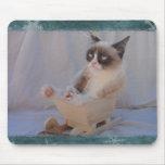 Copo de nieve azul Mousepad del gato gruñón Tapetes De Raton