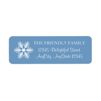 Copo de nieve, azul y blanco, elegante etiqueta de remite