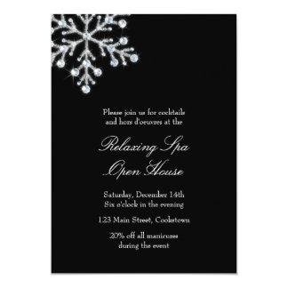 Copo de nieve cristalino compensado del negro de invitación 12,7 x 17,8 cm