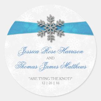 Copo de nieve de Diamante y boda del invierno de Pegatina Redonda