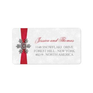 Copo de nieve de Diamante y boda rojo del invierno Etiqueta De Dirección