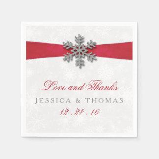 Copo de nieve de Diamante y boda rojo del invierno Servilletas Desechables