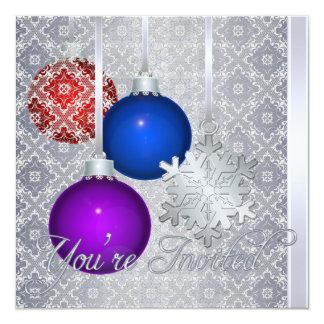 Copo de nieve de plata de la plata del cordón de invitación 13,3 cm x 13,3cm