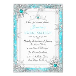Copo de nieve de plata del dulce 16 del país de invitación 12,7 x 17,8 cm