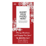 Copo de nieve del día de fiesta del navidad - rojo tarjetas fotograficas personalizadas