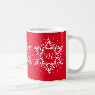 Copo de nieve inicial del Año Nuevo Taza De Café