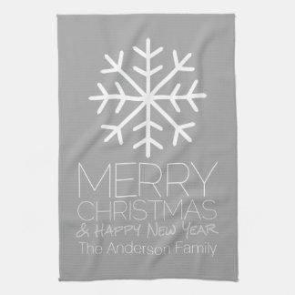 Copo de nieve moderno de las Felices Navidad - Paño De Cocina