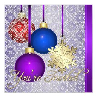 Copo de nieve púrpura del cordón de las invitación 13,3 cm x 13,3cm