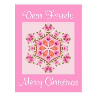 Copo de nieve rosado y anaranjado de la postal