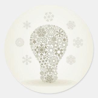 Copo de nieve un bulbo pegatina redonda