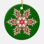 Copo de nieve verde de Candycane - ornamento del n Adorno De Navidad