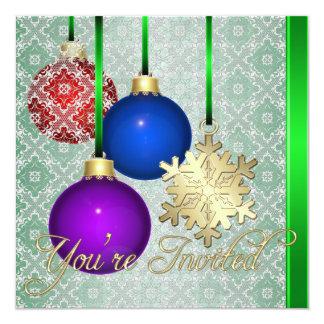 Copo de nieve verde del cordón de las decoraciones invitación 13,3 cm x 13,3cm