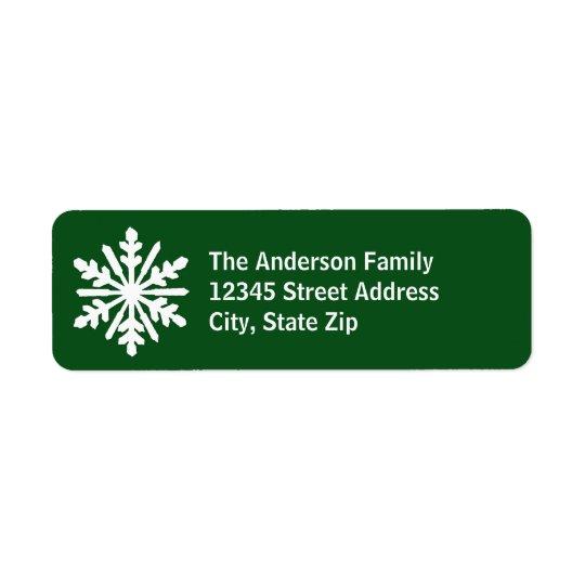 Copo de nieve verde y blanco - etiqueta de etiqueta de remite