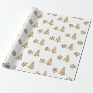 Copo de nieve y árbol del oro del faxu del papel papel de regalo