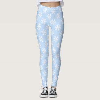 Copos de nieve azules claros y blancos leggings