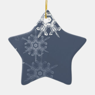 Copos de nieve azules/grises sofisticados adorno de cerámica en forma de estrella