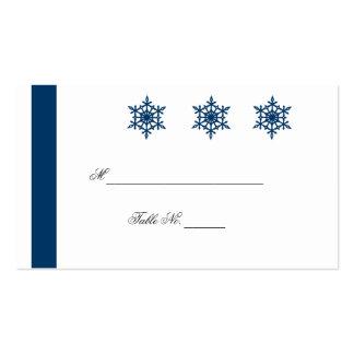 Copos de nieve azules y blancos que casan tarjetas tarjetas de visita