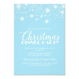 Copos de nieve azules y fiesta de cena de navidad invitación 12,7 x 17,8 cm